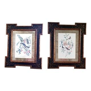 Audubon Pipiry Flycatcher and Swainson's Warbler Bird Prints in Custom Built Wood Frames - a Pair For Sale