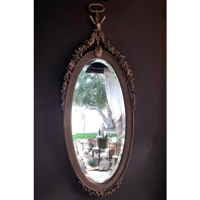 19th C. Renaissance Revival Gesso & Carved Giltwood Oval Beveled Wall Mirrors - a Pair For Sale - Image 11 of 13