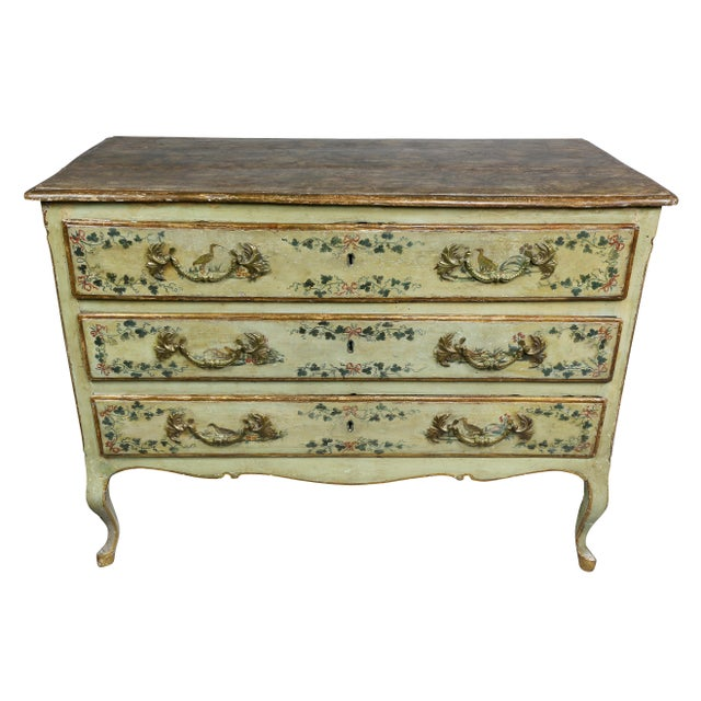 Italian Rococo Lacca Povera Painted Commode For Sale - Image 11 of 11