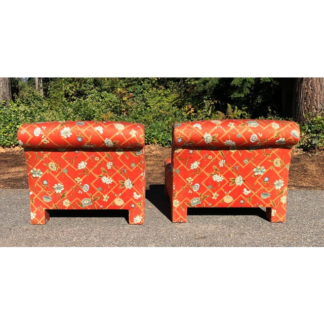 1960s Vintage Custom Upholstery Scroll Back Chinoiserie Slipper Chairs- A Pair For Sale In Seattle - Image 6 of 11