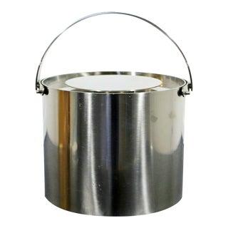 Mid Century Modern Arne Jacobsen for Stelton Steel Ice Bucket 1970s Denmark For Sale