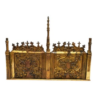 19th Century Gothic Revival French Victorian Architectural Gilded Church Altar Panel For Sale
