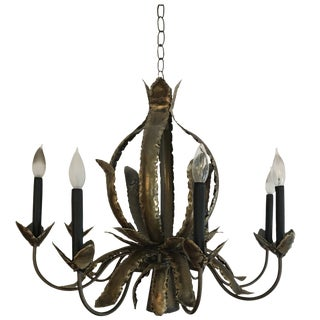 Mid-Century Brutalist Style Brass Chandelier in Pineapple Form For Sale