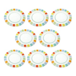 Color Block Fused Glass Dinner Plates - Set of 8 For Sale