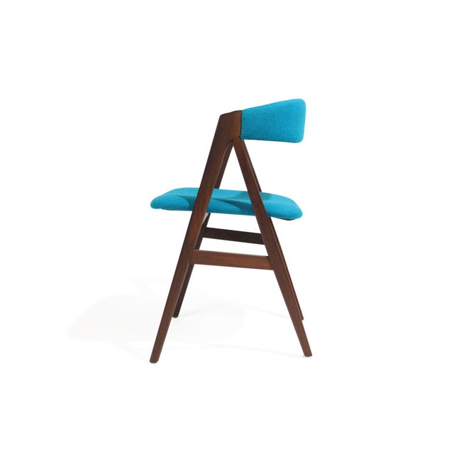 Mid Century A-Frame Danish Turquoise Wool Dining Chairs - Set of 4 For Sale - Image 4 of 9