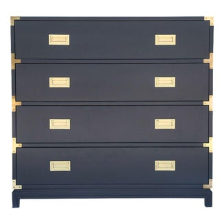 Large Carlyle Campaign Dresser in Navy For Sale