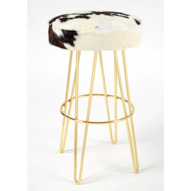 Hairpin Swivel Barstool Brass Tri-Color Cloud. Hair on hide Please allow 4 weeks before the item ships.
