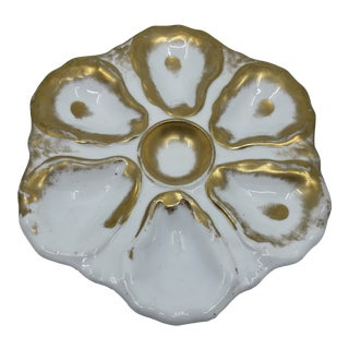 Antique Gold Leaf Oyster Plate For Sale