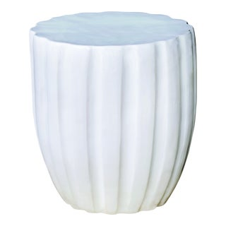 Scallop Handmade Glazed Ceramic Outdoor Accent Stool, White For Sale