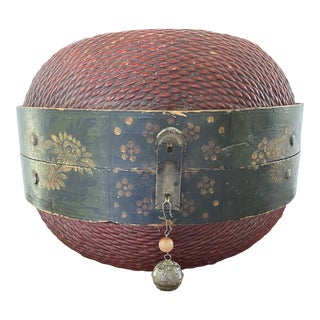 Antique Meiji Period Japanese Lacquered Wicker Dome Box For Sale