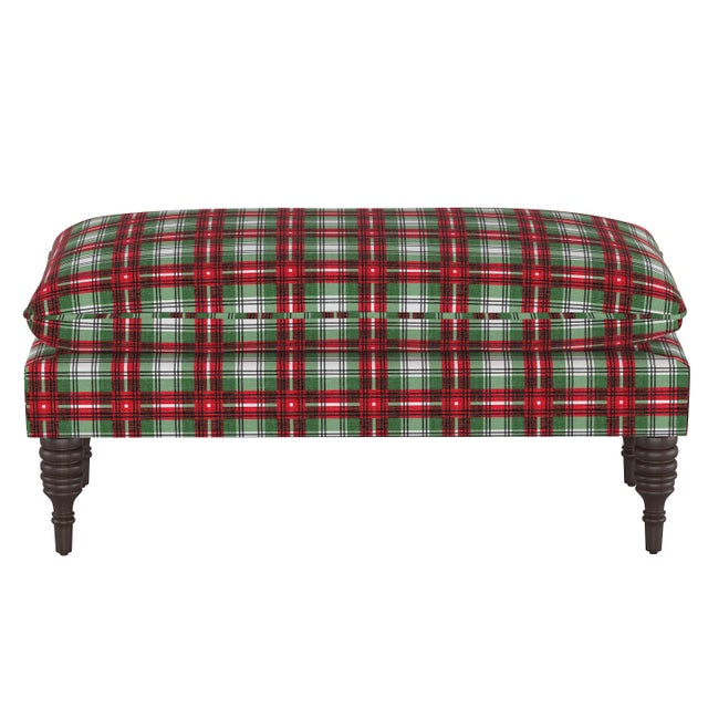 Pillowtop Bench in Nicolas Plaid Green Oga For Sale In Chicago - Image 6 of 6
