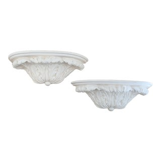 White Neoclassical Style Plaster Wall Brackets- Pair For Sale
