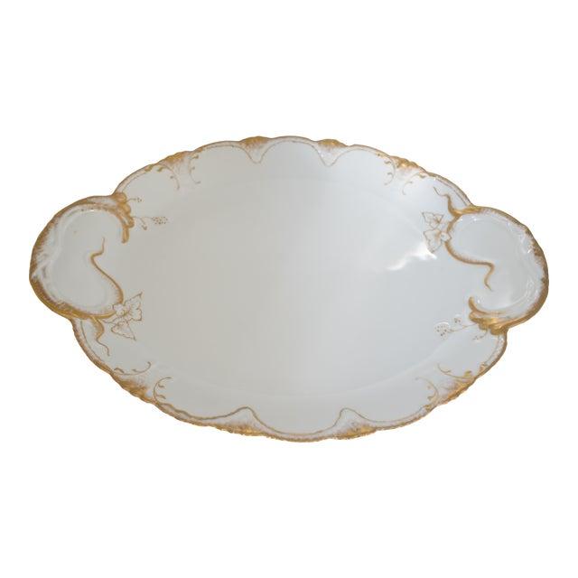 Antique Theodore Haviland Limoges France White & Gold Platter For Sale