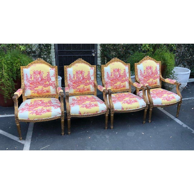 Randy Esada Designs for Prospr Antique Louis XVI Style Bergere Arm Chairs W Brunschwig & Fils Toile - Set of 4 For Sale - Image 4 of 6