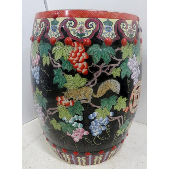 Chinese Porcelain Squirrel Grape Garden Stool For Sale - Image 4 of 4