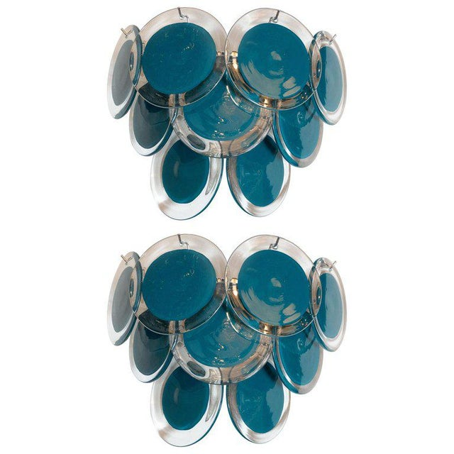 Modernist 9-Disc Hand Blown Murano Turquoise & Translucent Glass Sconces - a Pair For Sale In New York - Image 6 of 6