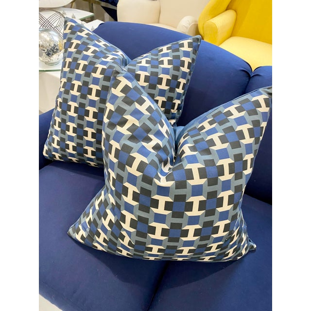 """Hermes Pavage Imprime Geometric 24 """" Pillows. These have a knife to maintain the sleek design with a velvet back face. The..."""