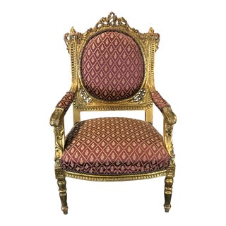 Original French Louis XV Gold Gilt Arm Chair For Sale
