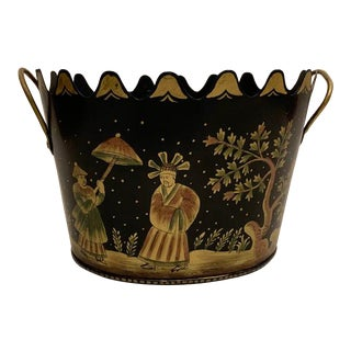 Large Tole Chinoiserie Cachepot For Sale