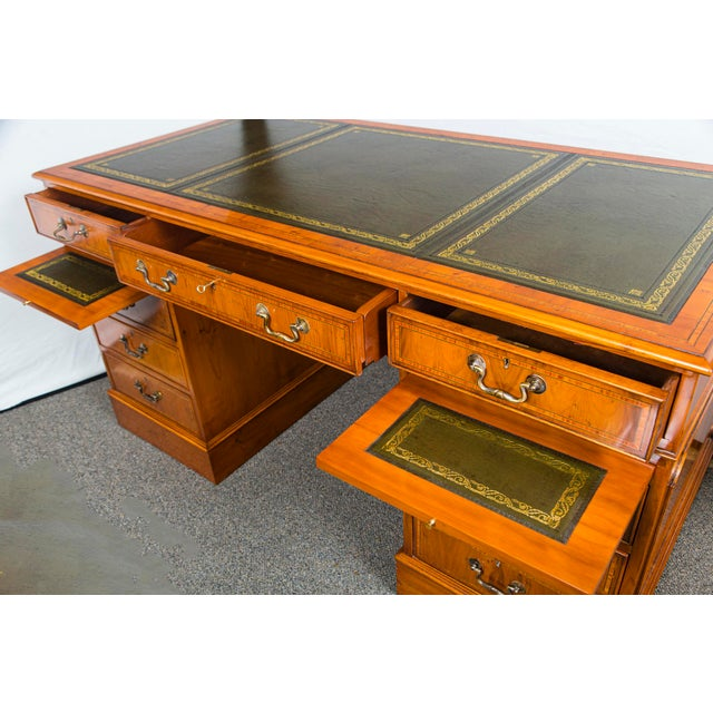 Brown English Traditional Yewood Kneehole Executive Desk For Sale - Image 8 of 12