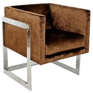 Mid Century Modern Brown Velvet Chrome Cube Lounge Accent Chair Baughman 1970's For Sale