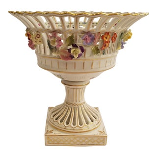 Dresden Porcelain Compote With Applied Flowers and Pierced Bowl 7.75 Inches Tall For Sale