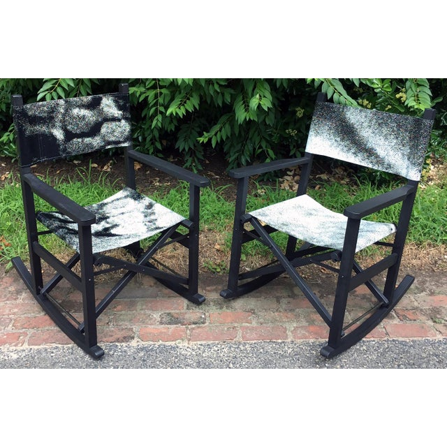 Plastic Folding Teak Rocking Chairs - a Pair For Sale - Image 7 of 7