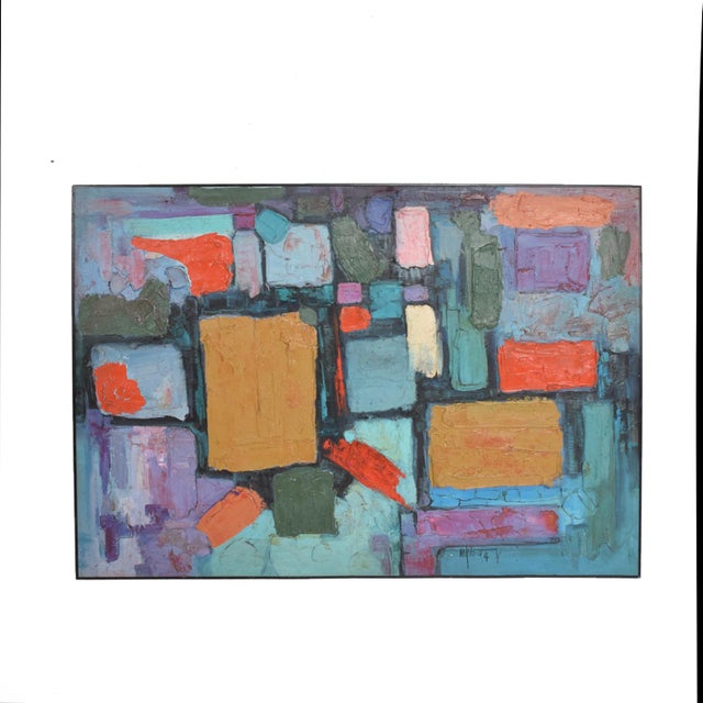 Modern Abstract Oil on Canvas, Signed 1994 For Sale - Image 4 of 11