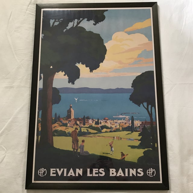 "Metal Framed ""Evian Les Bains"" Tourism Advertisement For Sale - Image 7 of 7"