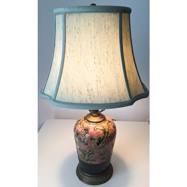 Chinoiserie Pink Pottery Lamp-Bronze Base-Celadon Silk Shade - Image 5 of 5