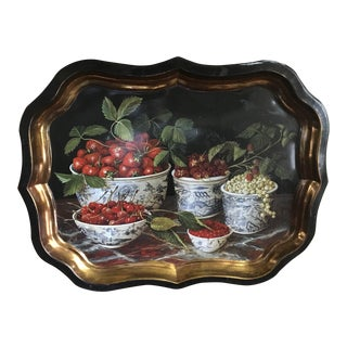 Vintage Keller Charles English Tole Serving Tray Stephanie Hoppen Painting For Sale