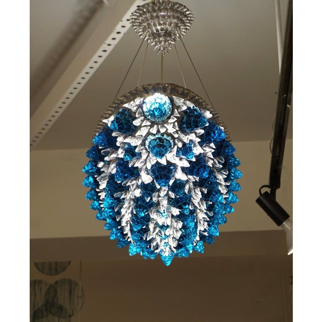 Contemporary Italian Turquoise Blue & Clear Glass Oval Silver Flush / Chandelier For Sale - Image 11 of 13