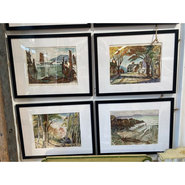 Blue 1950s Collection of Watercolors by Walter Killam - Set of 15 For Sale - Image 8 of 11