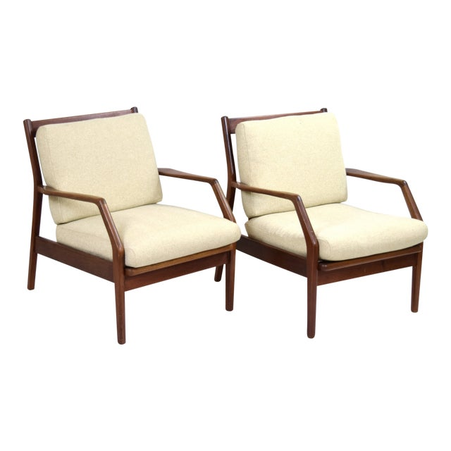 Vintage Ib Kofod Larsen Style Danish Modern Lounge Armchairs - a Pair For Sale