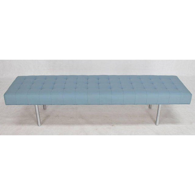 Mid-Century Modern Tufted Light Blue Upholstery Chrome Cylinder Legs Long Bench Almost Daybed For Sale - Image 3 of 9