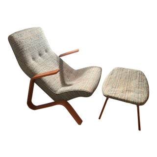 Eero Saarinen Vintage Original Model 61 Grasshopper Chair and Ottoman Knoll For Sale