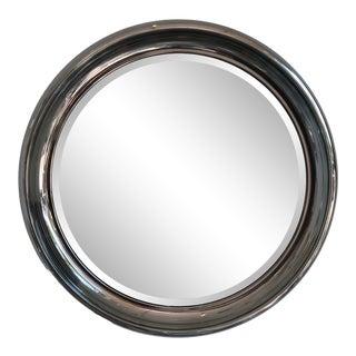 Vintage American Polished Nickel Surround Round Mirror For Sale