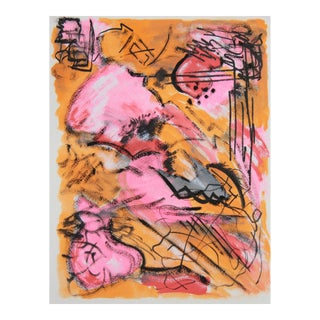 Abstract Painting in Coral, Pink, Gold, Black, by Cleo