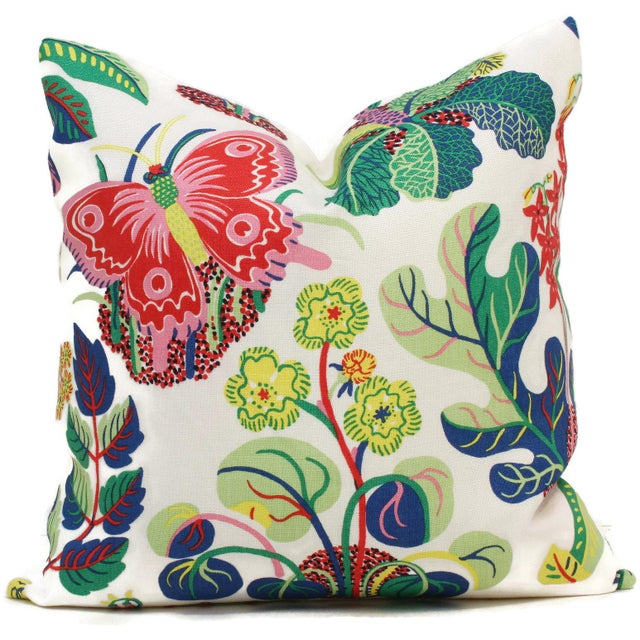"Contemporary 20"" x 20"" Decorative Pillow Cover Exotic Butterfly in Spring For Sale - Image 3 of 4"