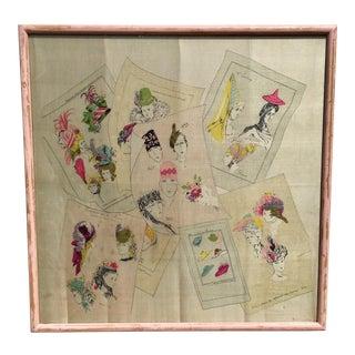 1940's Vintage Millinery History Framed Silk Art For Sale