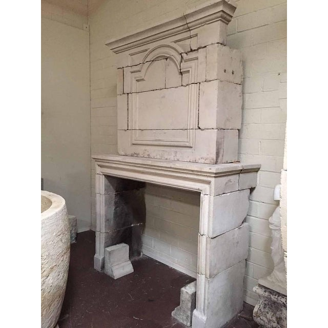 Louis XIV Limestone Mantel with Trumeau, circa 1810 For Sale - Image 4 of 5
