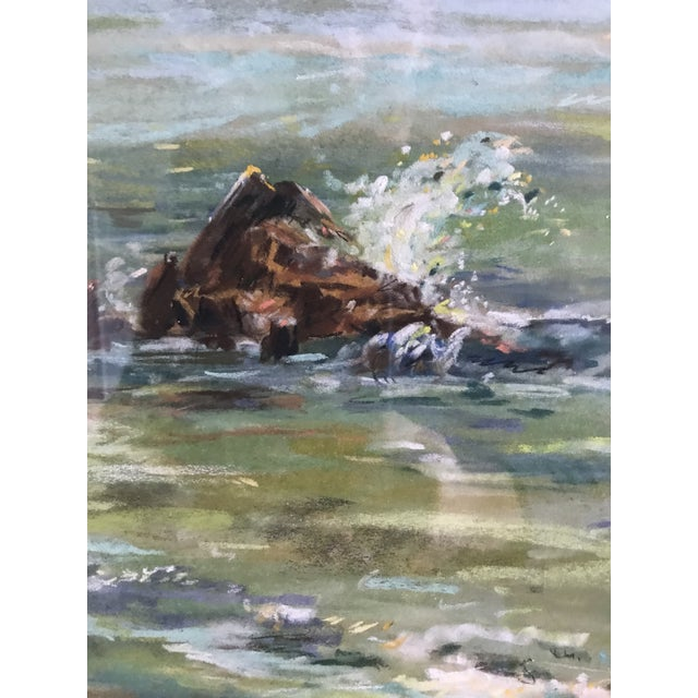 Mid 20th Century Vintage Mid-Century Colorful Pastel Seascape Drawing For Sale - Image 5 of 8