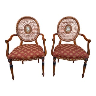 Sheraton Style Hand Painted Oval Cane Back Chairs - a Pair For Sale