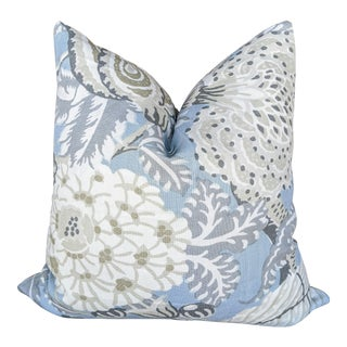 Mitford Floral Gray and Blue Pillow Cover For Sale
