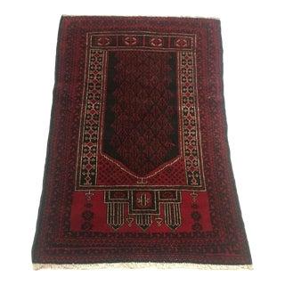 1940s Vintage Small Afghani Baluch Prayer Rug - 2′10″ × 4′4″ For Sale