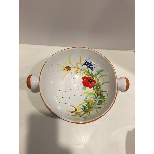 1990s Italian Hand Painted Pasta Bowl & Colander - a Pair For Sale - Image 5 of 9