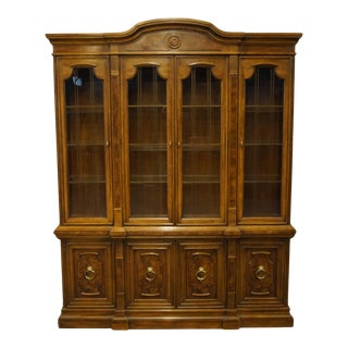 "Drexel Heritage Francesca Collection Italian Provincial Burled Walnut 65"" Lighted Display China Cabinet 562-444 For Sale"