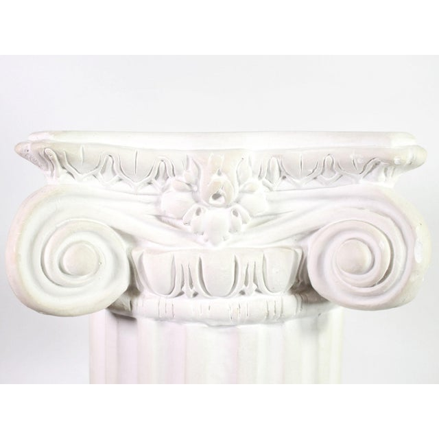 1960s White Plaster Romanesque Ionic Scroll Column Display Pedestal For Sale - Image 4 of 8