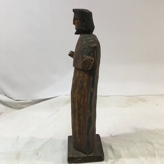 Antique Jesus Wood-Carved Hand-Painted Christian Icon Santos Figure For Sale - Image 4 of 7