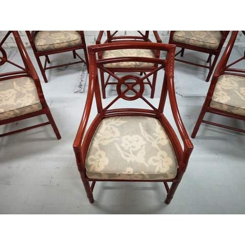 Set of 6 Italian Mid Century Red Bamboo Chippendale Lounge Dining Chairs For Sale - Image 12 of 13